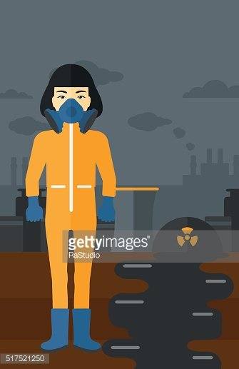 Woman in protective chemical suit