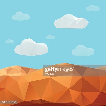 Abstract mountain landscape in polygonal origami style.