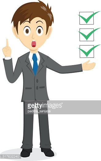 Businessman Explain With Floating Check list