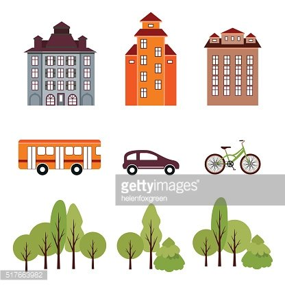 City elements in flat style.