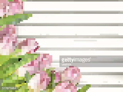 Bouquet of tulips on a wooden background. EPS 10
