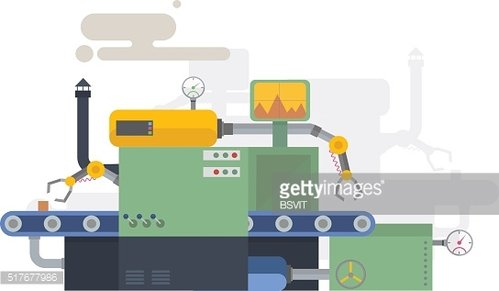 Industrial machine in flat style. Factory construction equipment, engineering illustration.