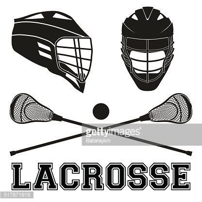Lacrosse sticks and helmets. Flat style