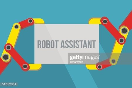 Robot hands holding blank sign with space for text