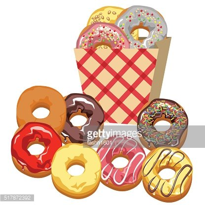 Set. Multi-colored donuts