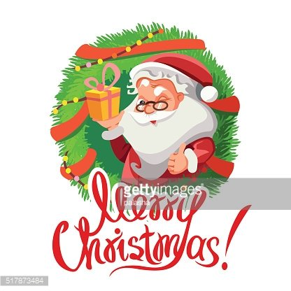 Christmas decoration with santa holding gift and showing ok sign.