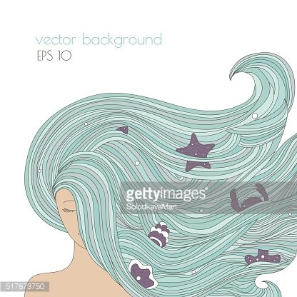 Abstract portrait of woman with long blue beautiful hair.