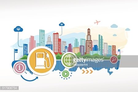 Fuel and cityscape background with different icon and elements.