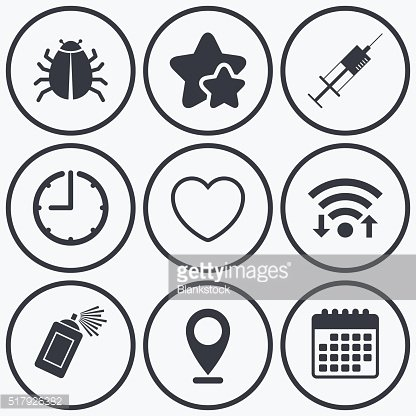 Bug and vaccine signs. Heart, spray can icons