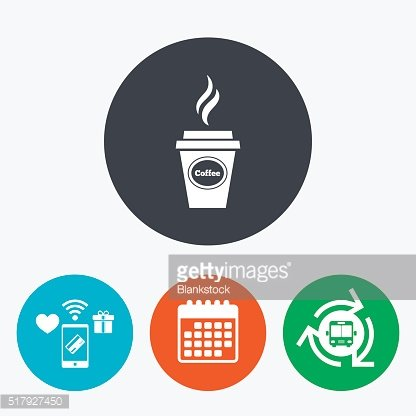 Coffee glass sign icon. Hot coffee button.