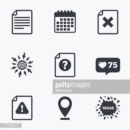 File attention icons. Exclamation signs.