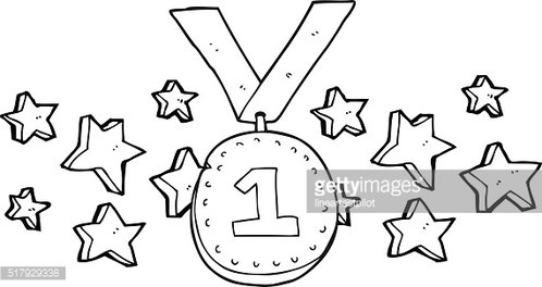 black and white cartoon first place medal