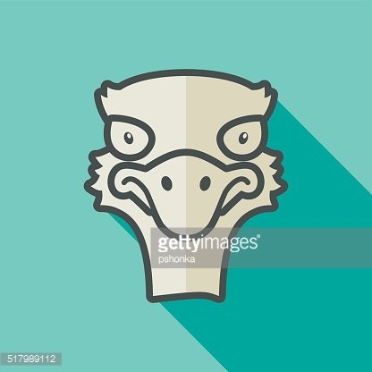 Ostrich flat icon. Animal head vector
