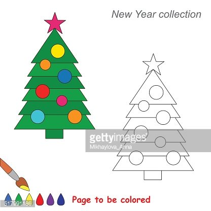 New year tree vector cartoon to be colored
