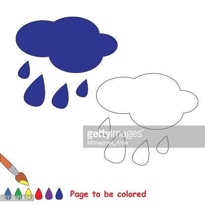 Rain in vector cartoon to be colored