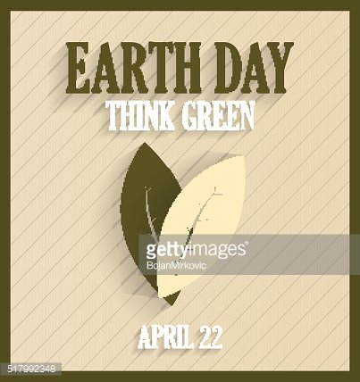 Earth Day poster with leafs. Retro poster