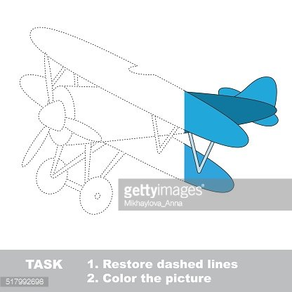 Biplane to be colored. Vector trace game