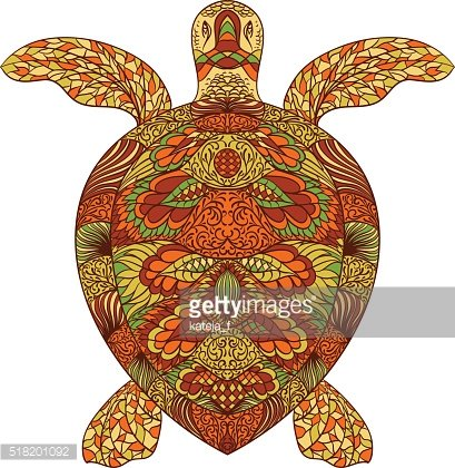 Turtle decorated with oriental ornaments.