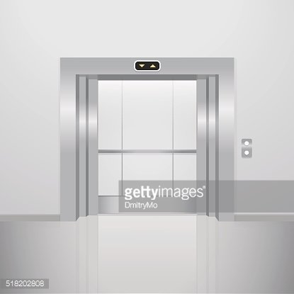Open elevator. Realistic vector illustration