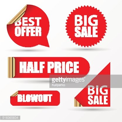 Sale stickers set. Modern red style. Vector