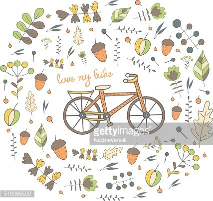 Cute hand drawn doodle postcard, card, cover with bike.