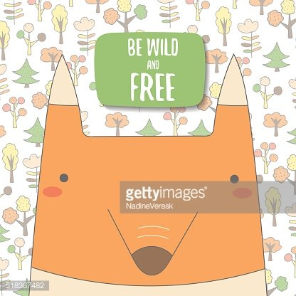 Cute doodle background, brochure, cover with orange fox