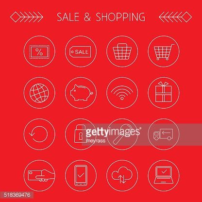 Sale and shopping linear icons