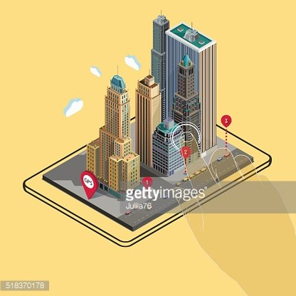 Flat 3d isometric buildings GPS navigation map on tablet