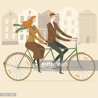 Elegant old style tandem cyclists illustration