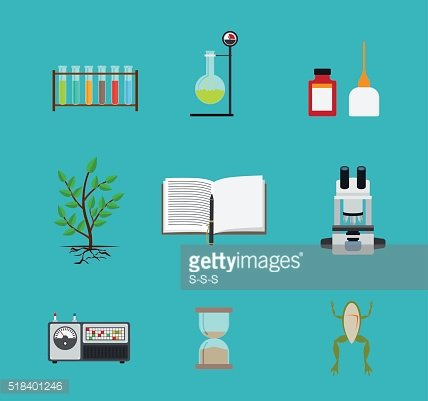 Biology laboratory workspace icons