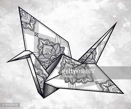Vector ornate stylized paper crane