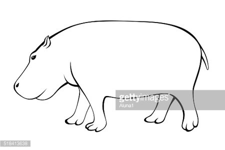 Hippo black white isolated illustration vector