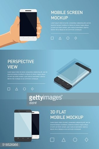 Set of minimalistic 3d isometric illustration cell phone. perspective view