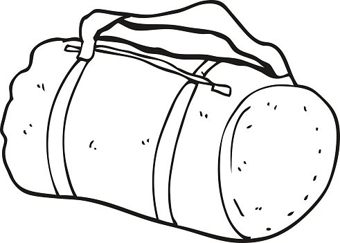 Black And White Cartoon Sports Bag Clipart Image