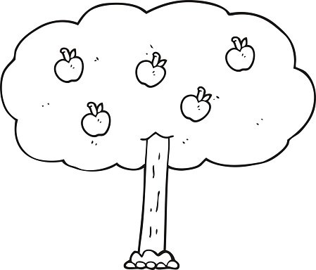 apple tree clipart black and white. black and white cartoon apple tree clipart
