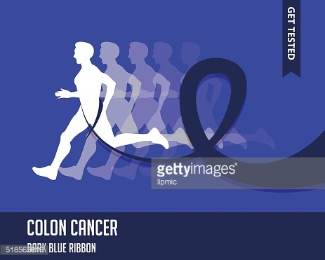 Sport Man with Running Blue Ribbon, Colon Cancer Awareness