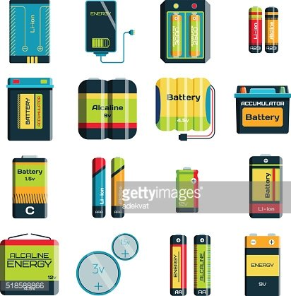 Group of different size color batteries electricity charge technology vector
