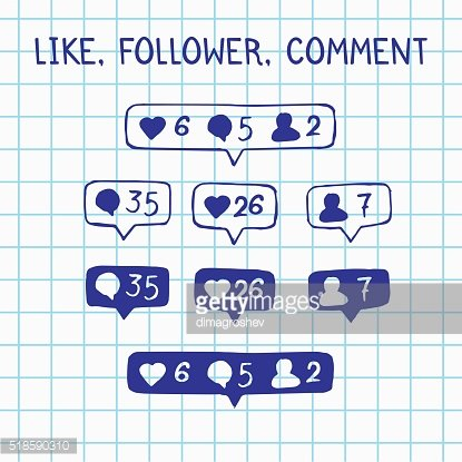Like, follower, comment icons on notebook sheet, vector doodle illustration