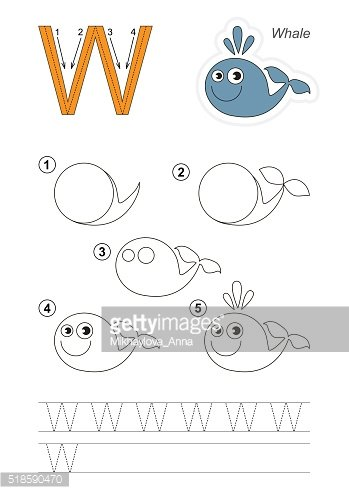 Drawing tutorial. Game for letter W