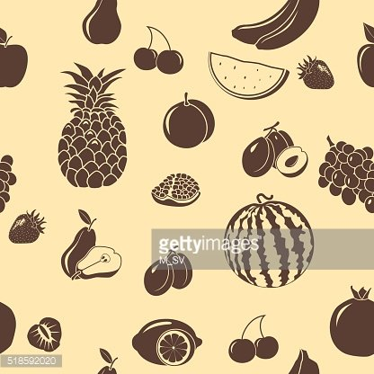 seamless pattern fruits and berries, silhouettes