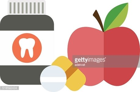 Health balanced diet concept choice between two sources vitamins pills