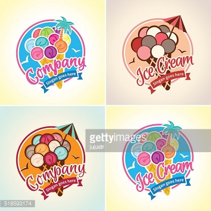 Ice Cream logo emblem, label for shop, cafe, parlor