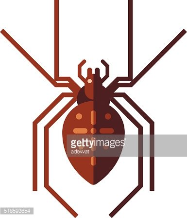 Flat spider insect danger silhouette vector icon illustration