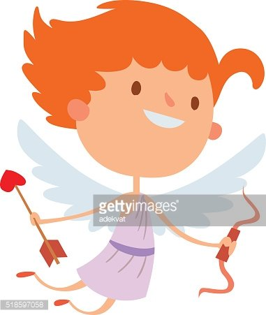 Cartoon cute cupid angel smile girl kid vector silhouette