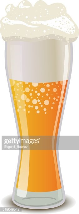 Glass of light beer with foam, isolated on white