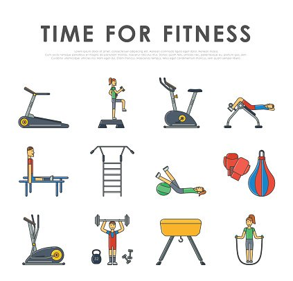 Fitness Sport Gym Exercise Equipment Workout Flat Set Concept Vector Clipart Image