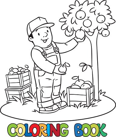 Funy Farmer Or Gardener With Apples Coloring Book