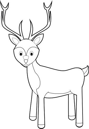 Easy Coloring Animals For Kids Deer Clipart Image