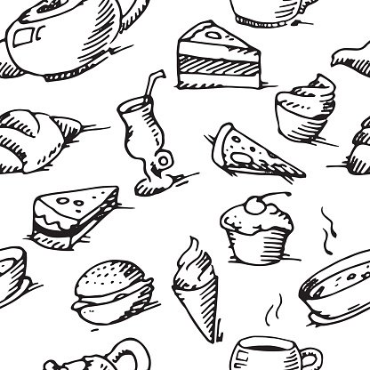 Cafe Pattern Background Premium Clipart