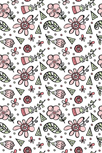 Flower pattern. Flowers and leaves. Vector seamless pattern (background).